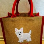 Westie Applique Hessian Jute Bag